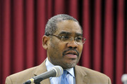 Congressman Gregory Meeks speaks at a press conference announcing the 1st annual Peace Week at Occasions Banquet Hall on January 15, 2010 in Springfield Gardens, New York.