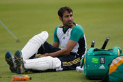 Imran Tahir of South Africa gets padded up during a South Africa nets session at the St. Lawrence Ground on July 12, 2012 in Canterbury, England.