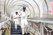 Kevin Pietersen and Paul Collingwood of England make their way down the tunnel to the outfield from the players balcony for the first session during day four of the fourth test match between South Africa and England at The Wanderers Cricket Ground on January 17, 2010 in Johannesburg, South Africa.
