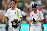 Kevin Pietersen and Paul Collingwood of England share a joke as they walk off for bad light at the end of day three of the fourth test match between South Africa and England at The Wanderers Cricket Ground on January 16, 2010 in Johannesburg, South Africa.