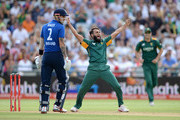 Imran Tahir of South Africa celebrates dismissing Jason Roy of England during the 5th Momentum ODI match between South Africa and England at Newlands Stadium on February 14, 2016 in Cape Town, South Africa.