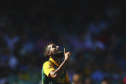 Imran Tahir of South Africa celebrates after taking the wicket of Lahiru Thirimanne of Sri Lanka  during the 2015 ICC Cricket World Cup Quarter Final match between South Africa and Sri Lanka at Sydney Cricket Ground on March 18, 2015 in Sydney, Australia.