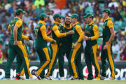 Imran Tahir of South Africa celebrates dismissing Thisara Perera of Sri Lanka during the 2015 ICC Cricket World Cup match between South Africa and Sri Lanka at Sydney Cricket Ground on March 18, 2015 in Sydney, Australia.