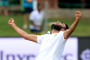 Imran Tahir of South Africa traps Denesh Ramdin for lbw for 20 runs during day 4 of the 2nd Test match between South Africa and West Indies at St. Georges Park on December 29, 2014 in Port Elizabeth, South Africa.