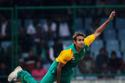 Imran Tahir of South Africa bowls during the 2011 ICC World Cup Group B match between West Indies and South Africa at Feroz Shah Kotla Stadium on February 24, 2011 in Delhi, India.