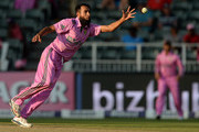 Imran Tahir of South Africa fields off his own bowling during the 2nd Momentum ODI between South Africa and West Indies at Bidvest Wanderers Stadium on January 18, 2015 in Johannesburg, South Africa.