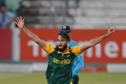 Imran Tahir of the Proteas celebrates the wicket of Jonathan Carter of the West Indies during the 1st Momentum ODI between South Africa and West Indies at Sahara Stadium Kingsmead on January 16, 2015 in Durban, South Africa.