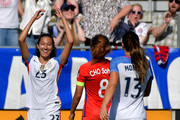 Christen Press #23 of USA reacts after scoring a goal against Korea Republic during their game at WakeMed Soccer Park on October 22, 2017 in Cary, North Carolina.