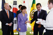 South Korean President Park Geun-hye (C), Los Angeles Mayor Antonio Villaraigosa (R) and California Governor Jerry Brown are given towels to wipe their hands after greeting guests at a receiving line during a welcoming luncheon at the Getty House on May 9, 2013 in Los Angeles, California. Park will visit Korean business leaders in Los Angeles today as she continues a five-day, unity-building visit to the United States. Park has been in the United States since Monday, when she visited the United Nations. She met with President Barack Obama on Tuesday and addressed a joint session of Congress on Wednesday.
