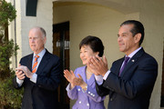 South Korean President Park Geun-hye (C), Los Angeles Mayor Antonio Villaraigosa (R) and California Governor Jerry Brown listen to Mariachi Divas mexican regional band perform during a welcoming luncheon at the Getty House on May 9, 2013 in Los Angeles, California. Park will visit Korean business leaders in Los Angeles today as she continues a five-day, unity-building visit to the United States. Park has been in the United States since Monday, when she visited the United Nations. She met with President Barack Obama on Tuesday and addressed a joint session of Congress on Wednesday