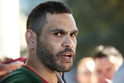 Greg Inglis speaks to the press during a South Sydney Rabbitohs NRL media opportunity at Redfern Oval on September 18, 2018 in Sydney, Australia.