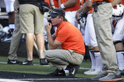 Head Coach Mike Gundy of the Oklahoma State Cowboys watches the game against the Southeastern Louisiana Lions September 3, 2016 at Boone Pickens Stadium in Stillwater, Oklahoma. The Cowboys defeated the Lions 61-7.