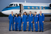 NASA's STS-131 astronauts, Commander Alan Poindexter (R-L), Pilot James P. Dutton Jr., mission specialists Rick Mastracchio, Dorothy Metcalf-Lindenburger, Stephanie Wilson, Japan Aerospace Exploration Agency astronaut Naoko Yamazaki and NASA astronaut Clayton Anderson address the media after arriving in a Gulfstream jet at the shuttle landing facility at Kennedy Space Center March 5, 2010, in Cape Canaveral. The astronauts arrived to prepare for their upcoming launch aboard Space Shuttle Discovery, scheduled for April 5.
