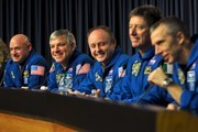 (L to R) Endeavour astronauts Mark Kelly, Greg Johnson, Michael Fincke, Roberto Vittori, and Andrew Feustel during press conference after landing safely at the John F. Kennedy Space Center after it's last mission, June 1, 2011 in Cape Canaveral, Florida. It launched on its first mission on May 7, 1992, served for 25 flights and traveled more .than 122.8 million miles.