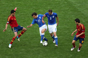 Andrea Pirlo and Giorgio Chiellini of Italy in action during the UEFA EURO 2012 group C match between Spain and Italy at The Municipal Stadium on June 10, 2012 in Gdansk, Poland.