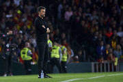 Luis Enrique, Manager of Spain reacts during the UEFA Nations League A Group Four match between Spain and England at Estadio Benito Villamarin on October 15, 2018 in Seville, Spain.