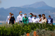 President of the Government of the Balearic Islands Francina Armengol, Queen Letizia of Spain and King Felipe of Spain take a walk with local authorities on promenade of Platja de s'Arenal on June 25, 2020 in Palma de Mallorca, Spain. This trip is part of a royal tour that will take King Felipe and Queen Letizia through several Spanish Autonomous Communities with the objective of supporting economic, social and cultural activity after the Coronavirus outbreak.