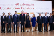 Prime Minister Pedro Sanchez (3L) Queen Letizia of Spain (c) and King Felipe VI of Spain (4L) attend a concert to commemorate the 40th anniversary of the Spanish Constitution at the 'Auditorio Nacional' on December 5, 2018 in Madrid, Spain.