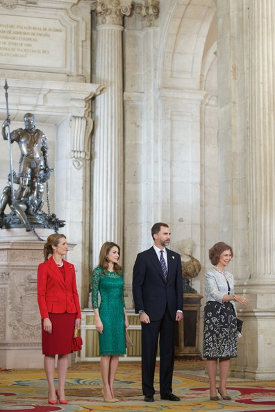 (L-R) Spanish Royals Princess Elena, Princess Letizia, Prince Felipe and Queen Sofia receive International Olympic Committee Evaluation Commission Team for a dinner at the Royal Palace on March 20, 2013 in Madrid, Spain.