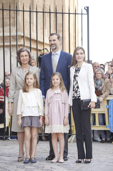 Spanish Royals (L-R) Queen Sofia, King Felipe VI of Spain, Queen Letizia of Spain, Princess Sofia of Spain and Princess Leonor of Spain attend the Easter Mass at the Cathedral of Palma de Mallorca on April 5, 2015 in Palma de Mallorca, Spain.
