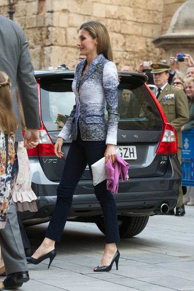 Princess Letizia of Spain attends the Easter Mass at the Cathedral of Palma de Mallorca on April 20, 2014 in Palma de Mallorca, Spain.