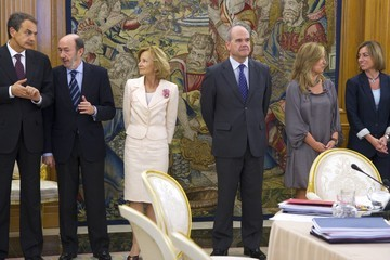 Carme Chacon Spanish Royals Attend a Meeting with National Defence Council