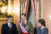 (L-R) President of Spain Pedro Sanchez, King Felipe VI of Spain and Queen Letizia of Spain attend New Year Military Parade 2019 celebration at Royal Palace on January 06, 2019 in Madrid, Spain.
