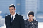 Pedro Sanchez and Queen Letizia of Spain attend New Year Military Parade 2019 celebration at Royal Palace on January 06, 2019 in Madrid, Spain.