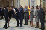 (L-R) King Felipe VI of Spain, Spanish culture minister Inigo Mendez de Vigo, King Juan Carlos, Queen Letizia of Spain, Queen Sofia and Miguel Cardenal, Secretary of State of Sport attend the National Sports Awards 2014 at the El Pardo Palace on November 17, 2015 in Madrid, Spain.