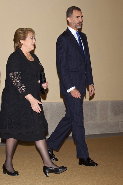 King Felipe VI of Spain and Chilean President Michelle Bachelet host a reception at the El Pardo Palace on October 30, 2014 in Madrid, Spain.