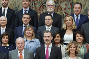King Felipe VI of Spain (C), King Juan Carlos (L) and Cristina Garmendia (R) attend a meeting with COTEC Foundation at the Royal Palace on May 14, 2019 in Madrid, Spain.