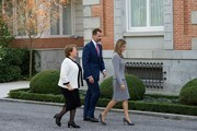 King Felipe VI of Spain (C) and Queen Letizia of Spain (R) receive Chilean President Michelle Bachelet (L) at the Zarzuela Palace on October 29, 2014 in Madrid, Spain.