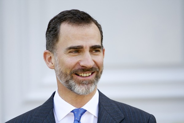 King Felipe VI of Spain receives the President of Colombia Juan Manuel Santos and Maria Clemencia Rodriguez de Santos at Zarzuela Palace on March 1, 2015 in Madrid, Spain.