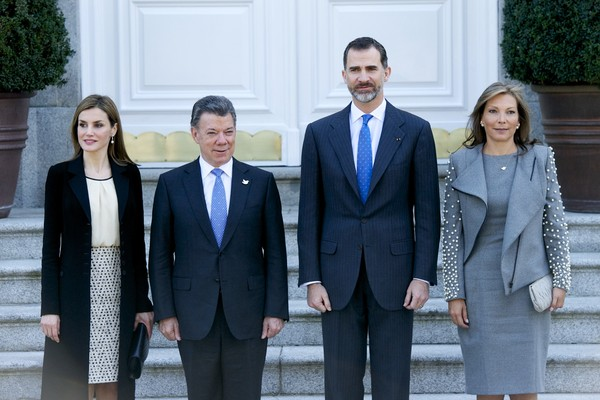 King Felipe VI of Spain and Queen Letizia of Spain receives the President of Colombia Juan Manuel Santos and Maria Clemencia Rodriguez de Santos at Zarzuela Palace on March 1, 2015 in Madrid, Spain.