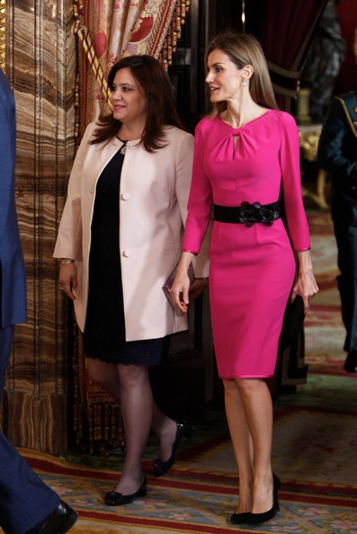 Queen Letizia of Spain (R) receive President of Honduras wife Ana Rosalinda Garcia (L) at the Royal Palace on October 1, 2014 in Madrid, Spain.