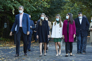 King Felipe VI of Spain, Queen Letizia of Spain, Crown Princess Leonor of Spain (R) and Princess Sofia of Spain (L) are seen visiting 'FPAbrica', the Old Weapon Factory of La Vega on October 15, 2020 in Oviedo, Spain. This set of industrial buildings is hosting the cultural activities programmed for this year to tribute the winners from 2019.