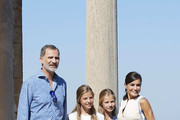 King Felipe VI of Spain, Queen Letizia of Spain, Princess Leonor of Spain (R) and Princess Sofia of Spain (L) visit 'Son Marroig' museum on August 08, 2019 in Palma de Mallorca, Spain.