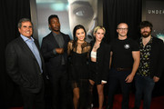 """(L-R) Peter Chernin, Mamoudou Athie, Jessica Henwick, Kristen Stewart, William Eubank and John Gallagher Jr. attend a special fan screening of 20th Century Fox's """"Underwater"""" at Alamo Drafthouse Cinema on January 07, 2020 in Los Angeles, California."""