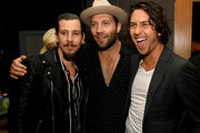 """(L-R) Beau Knapp, Jai Courtney and Nat Wolff pose at the after party for the premiere of Lionsgate's """"Semper Fi"""" at Liaison LA on September 24, 2019 in Hollywood, California."""