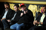 (L-R) Actor Josh Brolin, former soldier Russell Baer, filmmaker Michael Moore and producer John Battsek participate in a discussion following a special screening of The Weinstein Company's The Tillman Story at AMC Loews Lincoln Square 13 on August 11, 2010 in New York City.