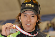 Keiichiro Nagashima of Japan poses with the silver medal in the men's 500m victory ceremony during the Japan Speed Skating Olympic Qualifying Championships at M Wave on December 28, 2013 in Nagano, Japan.