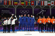 Silver medalists Seung-Hoon Lee, Jaewon Chung and Min Seok Kim of Korea, gold medalists Havard Bokko, Sindre Henriksen, Simen Spieler Nilsen and Sverre Lunde Pedersen of Norway and bronze medalists Koen Verweij, Patrick Roest, Sven Kramer and Jan Blokhuijsen of the Netherlands stand on the podium during the victory ceremony after the Speed Skating Men's Team Pursuit finals on day 12 of the PyeongChang 2018 Winter Olympic Games at Gangneung Oval on February 21, 2018 in Gangneung, South Korea.