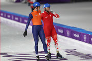 Konrad Niedzwiedzki of Poland and Sven Kramer of the Netherlands react after their race during the Men's Speed Skating Mass Start Semifinal 2 on day 15 of the PyeongChang 2018 Winter Olympic Games at Gangneung Oval on February 24, 2018 in Gangneung, South Korea.