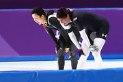 Miho Takagi of Japan and Heather Bergsma of The United States look on after competing during the Ladies 1,500m Long Track Speed Skating final on day three of the PyeongChang 2018 Winter Olympic Games at Gangneung Oval on February 12, 2018 in Gangneung, South Korea.