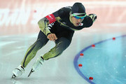 Keiichiro Nagashima of Japan competes during the Men's 500 m Race 1 of 2 Speed Skating event during day three of the Sochi 2014 Winter Olympics at Adler Arena Skating Center on February 10, 2014 in Sochi.