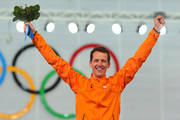 Gold medalist Stefan Groothuis of the Netherlands celebrates during the flower ceremony for the  Men's 1000m Speed Skating event during day 5 of the Sochi 2014 Winter Olympics at at Adler Arena Skating Center on February 12, 2014 in Sochi, Russia.