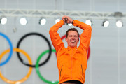 Gold medalist Stefan Groothuis of the Netherlands celebrates on the podium during the flower ceremony for the Men's 1000m Speed Skating event during day 5 of the Sochi 2014 Winter Olympics at at Adler Arena Skating Center on February 12, 2014 in Sochi, Russia.