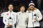(L-R) Silver medalist Sang-Hwa Lee of Korea, gold medalist Nao Kodaira of Japan and bronze medalist Karolina Erbanova of the Czech Republic celebrate during the victory ceremony after the Ladies' 500m Individual Speed Skating Final on day nine of the PyeongChang 2018 Winter Olympic Games at Gangneung Oval on February 18, 2018 in Gangneung, South Korea.