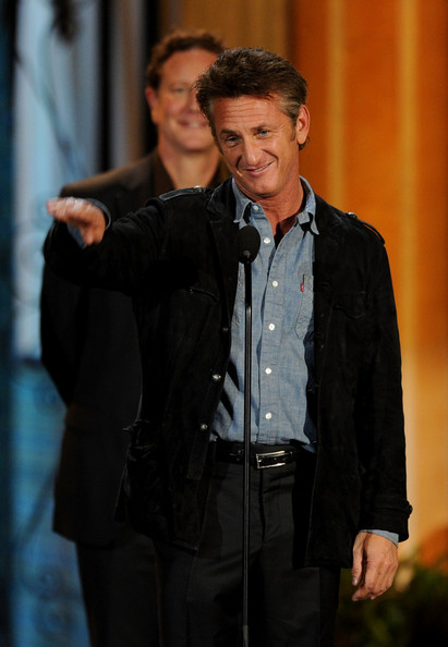"Actors Sean Penn (R) and Judge Reinhold accept the Guy Movie Hall of Fame award for ""Fast Times on Ridgemont High"" onstage during Spike TV's 5th annual 2011 ""Guys Choice"" Awards at Sony Pictures Studios on June 4, 2011 in Culver City, California."