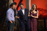 (L-R) Director Zack Snyder, actors Henry Cavill, Russell Crowe, and Amy Adams  speak onstage during Spike TV's Guys Choice 2013 at Sony Pictures Studios on June 8, 2013 in Culver City, California.